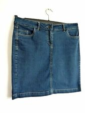 Ladies Lovely M&S Blue Denim Knee Length Fly Zip Pocket Skirt Size 34W, Vgc