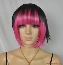 Hot Sell Fashion Black Mix Pink Bob Bangs Short Women's Lady's Hair Wig Wigs+Cap