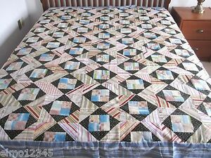 """City Square NEW PIECED PATCHWORK QUILT TOP, 86"""" x 86"""", Blue, Black, 52603"""