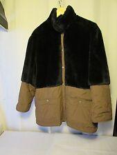 manteau/veste vintage SONIA RYKIEL toile taupe et fausse fourrure noire taille M