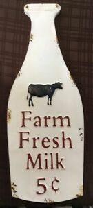 Farm Fresh Milk 5 Cents Distressed Rustic Farmhouse Metal Hanging Decor Sign