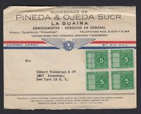 Fiscal stamps used on Venezuela Commercial Cover to New York USA By Air Mail