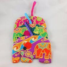 3x New Cute Wallet Purse Bag Thai Elephant Fabric Multi Color Handmade zipper