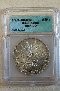 1894-Ca MM Mexico 8 Reales AU 58