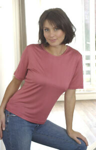 Ladies pure silk jersey silk knit short sleeved thermal vest T shirt