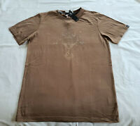 Playboy Mens Brown Bunny Crest Printed Short Sleeve T Shirt Size M New
