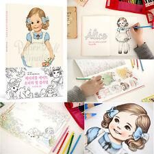 Korea Afrocat Paper Doll Mate Coloring Book Girls Women Kids Hobby Healing Color