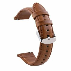 18/20/22/24mm Vintage Cowhide Genuine Leather Band Quick Release Pin Watch Strap