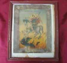 19C ANTIQUE IMPERIAL RUSSIA CHRISTIAN ICON LITHOGRAPHY OF ST. ARCHANGEL MICHAEL