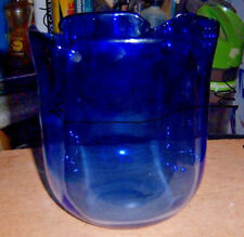 """Dark Blue bowl with scalloped top 5"""" tall 4"""" round base listed omfogo circle oma"""