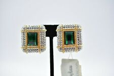 Signed Swan Swarovski Green Crystal Pave Gold Clip On Earrings Rare Retired BinC