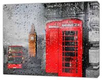 LONDON  RED PHONE BOX,BUS AND BIG BEN RAIN  PHOTO  PRINT ON FRAMED CANVAS  ART