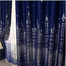Blockout Eyelet Curtains Castle Darkening Navy Blue Blackout Kids Room 180cm (W)