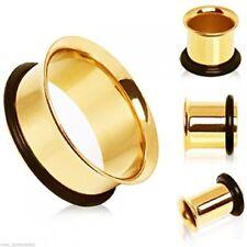 "Pair-Gold Plate Single Flare Ear Tunnels 25mm/1"" Gauge Body Jewelry"