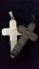 Stainless Steel Cross Pendant Lords Prayer Mens Ladies Black or Silver
