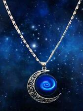 New Stylish Galaxy Universe Crescent Moon Round Galacticos Pendant Necklace