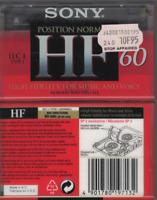 Sony 1x HF 60 Cassette K7 Tape Vierge Blank neuf CEE 1995