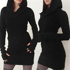 Womens Solid Long Sleeve Fleece Hoodies Sweatshirt Pullover Jumper Bodycon Dress