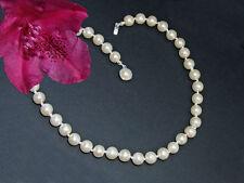 Perlen Kette Fb. Weiß Silber Perlen Kette Schmuck Brautschmuck Modeschmuck  SR78