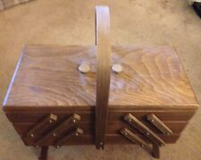 Vintage Wood Accordion Sewing Basket Box In Nice Condition