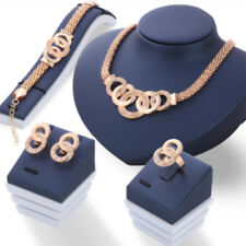 Women 18K Gold Plated Crystal Necklace Bracelet Ring Earrings Band Jewelry Set