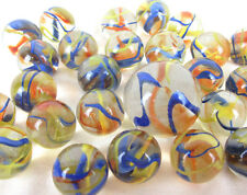25 Glass FIESTA Marbles game pack vtg style Clear Confetti Ribbon Shooter Swirl