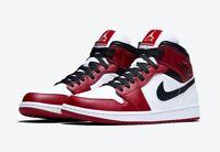 Air Jordan 1 Chicago Mid White Heel Toe Red Black Retro 554724-173 Sz 9-11