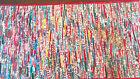 VTG Hand Made Sewn Quilt Piece Work Rag Rug Colorful Kitchen Folk Art Wall Decor