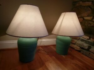 ELITE Pottery Ceramic Solid Aqua Turquoise Blue Table Lamp Pair Vtg Signed MCM