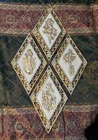Vtg Syroco 4 Diamond Wall Plaques Lock Key Floral Hollywood Regency Cream & Gold