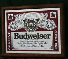 Vintage Budweiser Stamford Art Framed Bar Mirror 10 X 14 Man Cave Good Condition