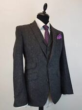 Men Dark Grey Herringbone Tweed Suit Party Prom Dinner Groom Tuxedo Wedding Suit
