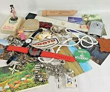 Junk Drawer Lot Post Cards Slide Rule Necklaces Watches Compact AS IS  Lot 14