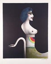 """Paul Wunderlich, Ltd. Ed. Original lithograph, hand signed,""""Dame mit Schwan"""""""