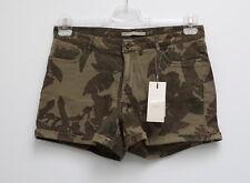 NEU Damen Stretch Hot Pants, Shorts kurze Hose tarnfarben camourflage grün Gr.44