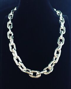 Handmade 999 Fine PURE Silver HUGE & HEAVY Necklace - FREE SHIPPING