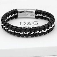 """DG Men's 8.5"""" Stainless-Steel Silver,Black Braided Leather Magnetic.Bracelet,BOX"""