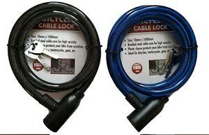 Keylock Bike Bicycle Cycle Lock 10mm by 1 Metre  2 Keys Steel Cable Chain.
