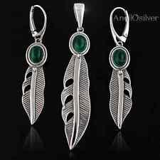 Sterling Silber 925 Schmuckset mit Grün MALACHIT Ohrringe Anhänger BEST PREIS