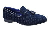 Scarpe mocassini uomo Class invernali blu fantasia a pois nuovi eleganti casual