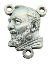 Set of 5 Saint Padre Pio 3/4 Inch Centerpieces Metal Rosary Center Made in Italy