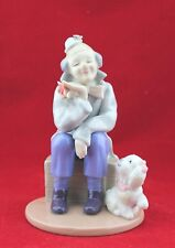 Porcelain Figurine Clown With White Funny Dog Design 2002 China
