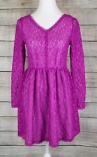 Victoria's Secret Womens Lace Fit & Flare Dress A-Line Purple Long Sleeve Size 2