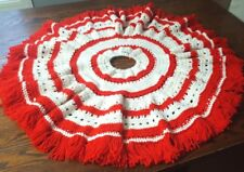Handmade Crochet Red & White Fringed Tree Skirt 35 inches Trunk Hole 4 inches