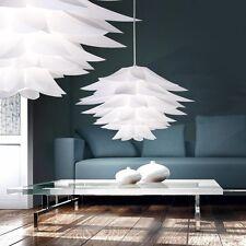 Hänge Decken Lampe Wohnzimmer Pendel Leuchte Licht Chrom weiß Schirm steckbar