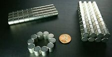 10 Large Neodymium N52 Disc Magnets Super Strong Rare Earth Cylinder 3/8 × 3/8""