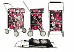 4 WHEEL COLLAPSIBLE SHOPPING TROLLEY NEW