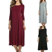 Women's Casual Solid Dress 3/4 Sleeve Round Neck Loose A-Line Midi Swing Dress