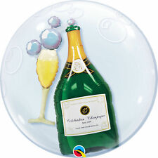 "QUALATEX Bubbles Double Bubble Balloon 24"" CHAMPAGNE BOTTLE IN CLEAR BALLOON"