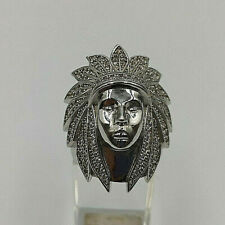 Sterling Silver Cubic Zirconia Indian Chief Head Ring.  Goldmine Jewellers.
